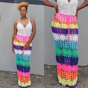 👗👗👗 Crochet Knit Multicolored Long Maxi Skirt